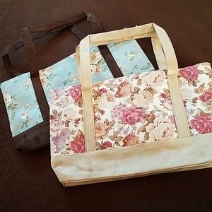 Set of 2 Ultra Suede Floral Print Tote Bags